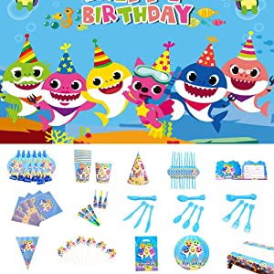 Nidezon Baby Shark Party Supplies,160 Pieces Birthday Decorations-Baby shark theme backdrop,table cloth, Knife/Fork/Spoon/paper cup/paper plate/straw/gift bag/invitation card,toothpick ,table napkin cake toppers Birthday Party Favor Set for 10 Guest