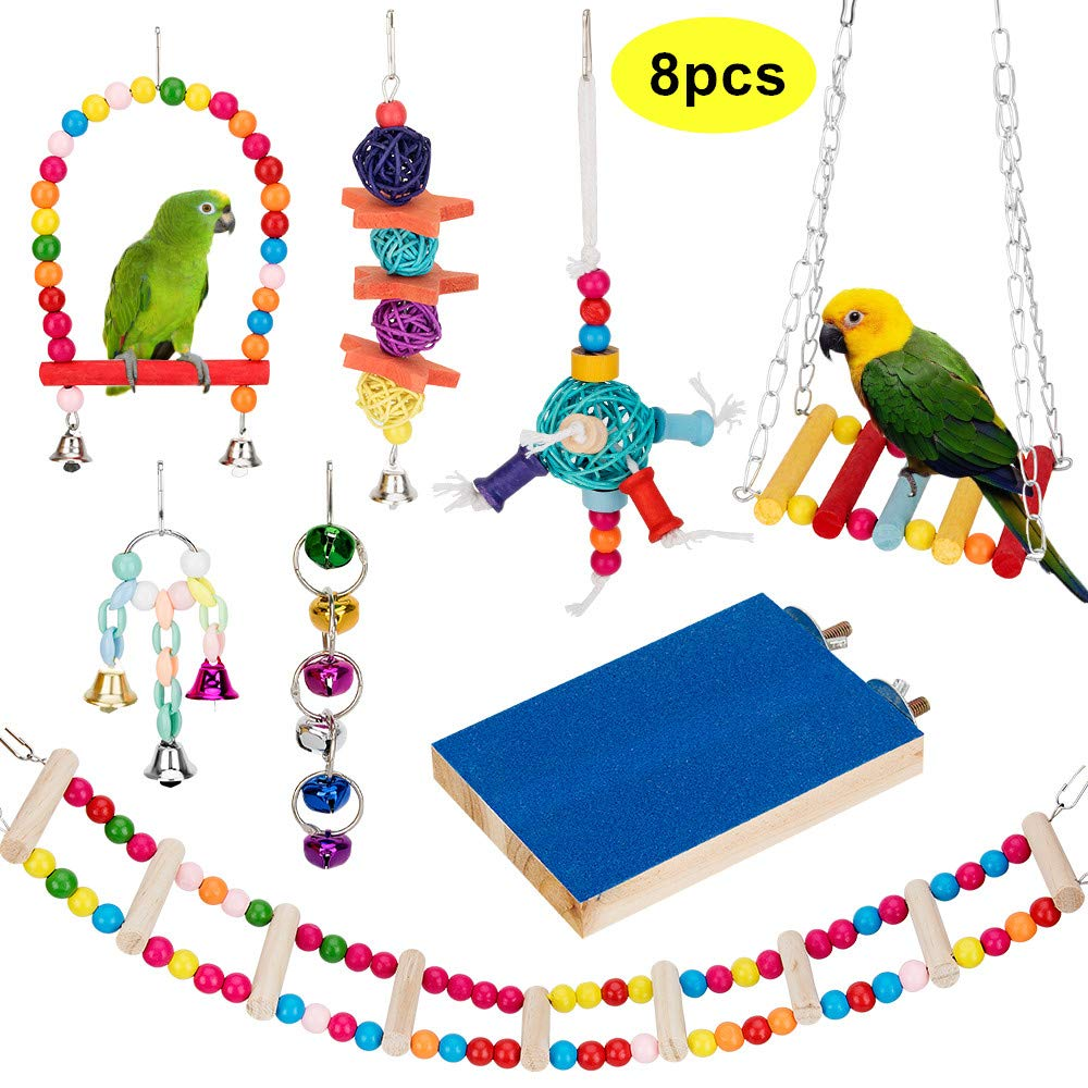 AsiFancy Bird Parrot Toys, Bird Swing Hanging Toy, Bird Cage Toys Hammock Bell Swing Ladder Perch Chewing Toys for Parrots, Parakeets Cockatiels, Conures, Macaws, Love Birds, Finches by AsiFancy