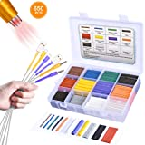 Pointool Heat Shrink Tubing Kit-Wire Shrink Wrap Tubing Wire Heat Shrink Tube Kit Insulation Electrical Colored Assorted Heat Shrink Tubing Assortment Electronics for Wires(Shrink Ratio2:1, 650Pcs)