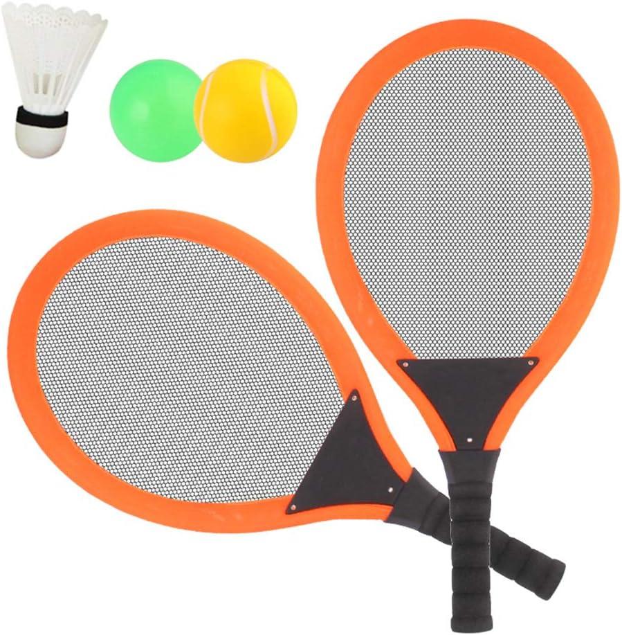 3 in 1 Jouet de Plage en Plein air pour 3 4 5 Ans Dreamon Jeu De Raquettes Tennis Badminton Set Orange