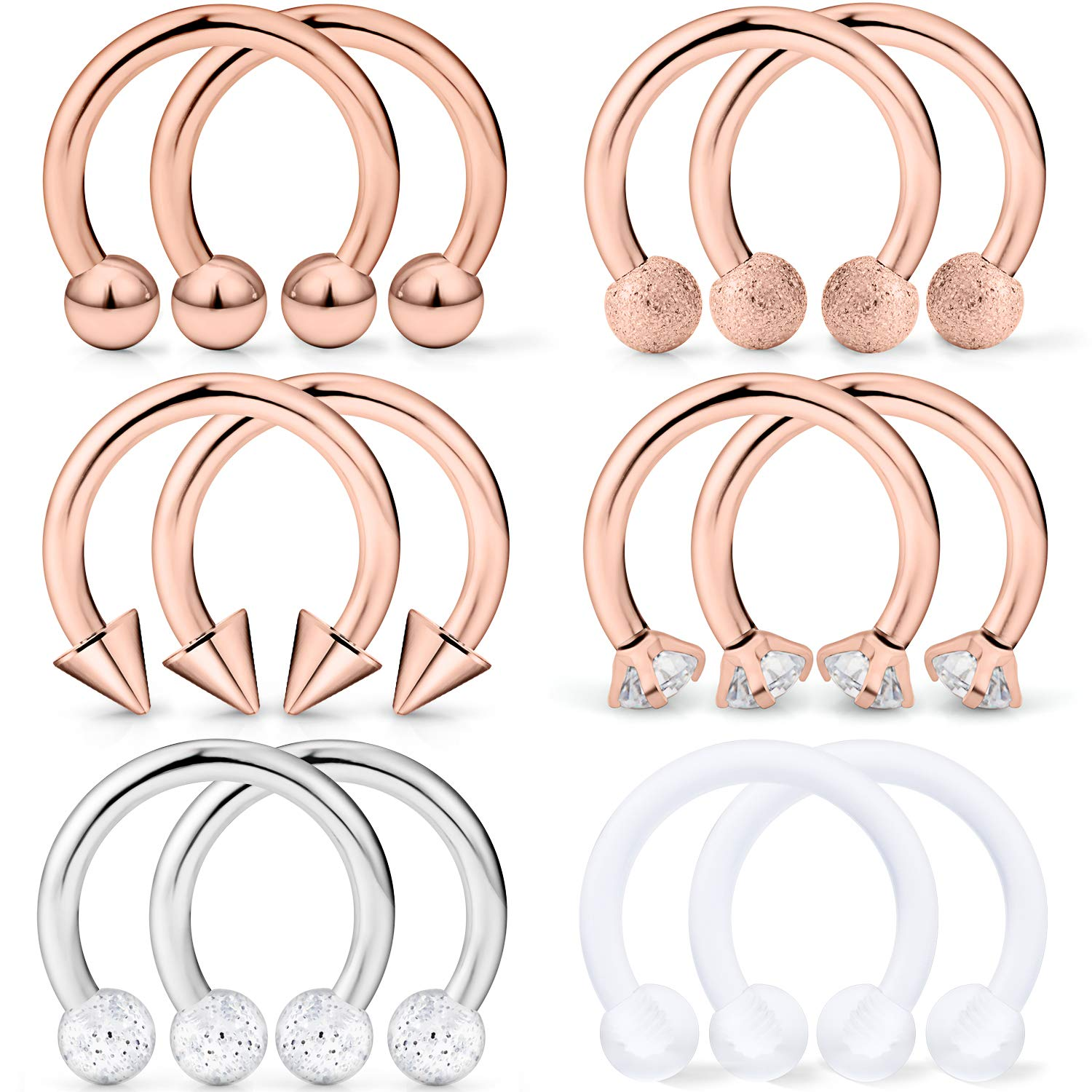 Hoeudjo Septum Hoop Nose Ring 16G Surgical Steel Circular Horseshoe Rings Piercing Jewelry with Cubic Zirconia Cartilage Helix Earring Barbell Retainer for Women Men 12 Pieces 8mm 10mm