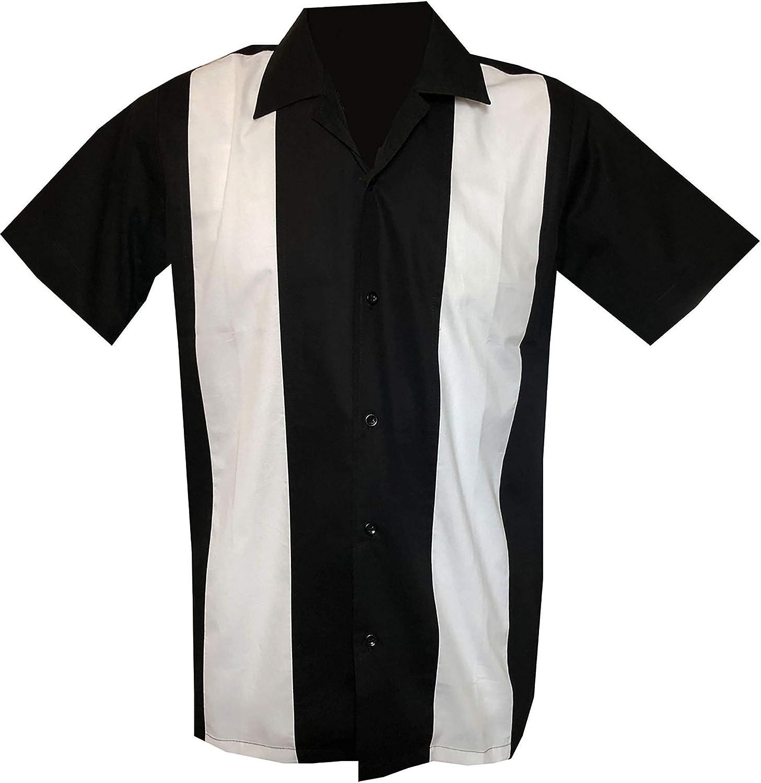 Rockabilly Fashions - Camisa de bolos para hombre, estilo casual, color negro y blanco Negro y blanco. M: Amazon.es: Ropa y accesorios