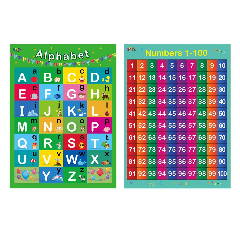 """Alphabet, Numbers 1-100,2 LAMINATED Educational Posters for Toddlers ,17"""" X 22"""""""