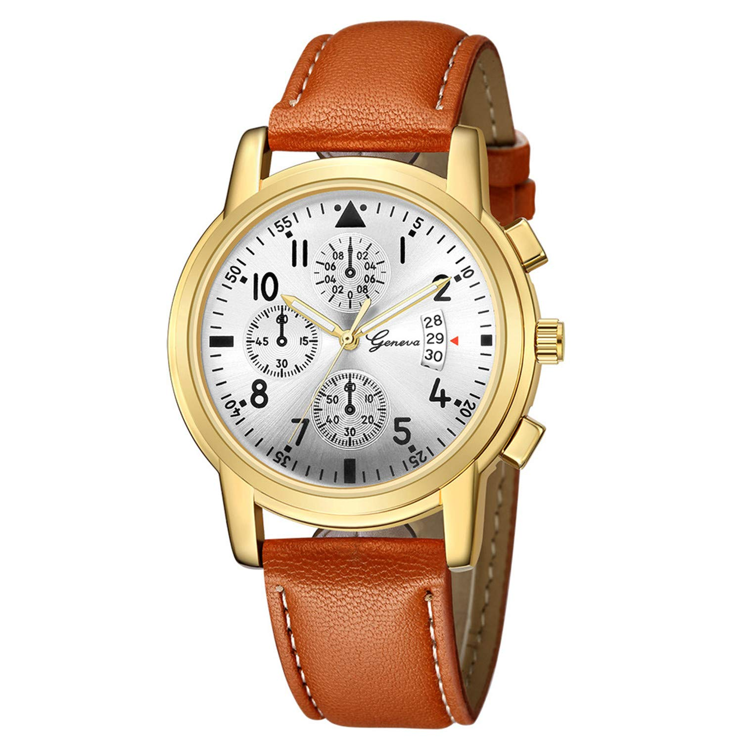 Amazon.com : freedomer Golden Dial Watches Men TopLuxury Creative Quartz Wrist Watch Fashion Leather Mens Watches Relojes para Hombre(A, ...