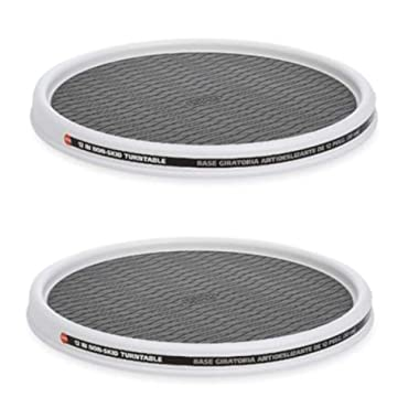 Copco 5220591 Non-Skid Pantry Cabinet Lazy Susan Turntable Set of 2, 12-Inch White/Gray
