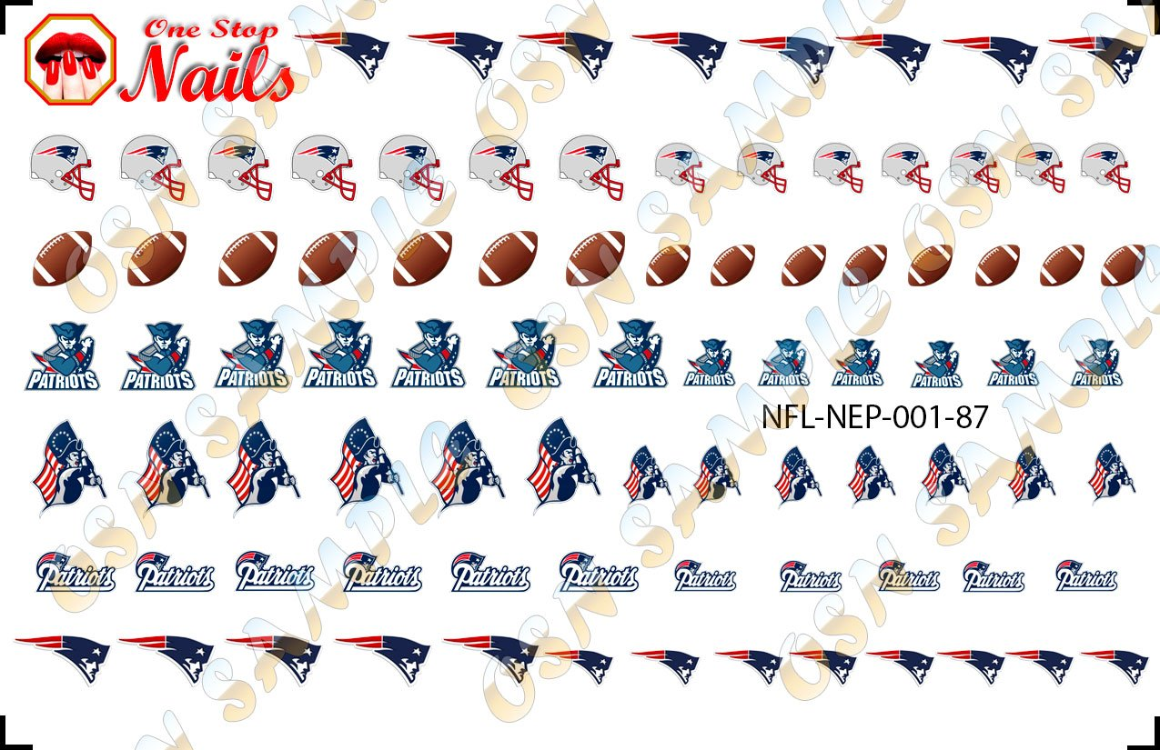 New England Patriots Waterslide Nail Decals (Tattoos) V1 (Set of 87) DimOxy Designs