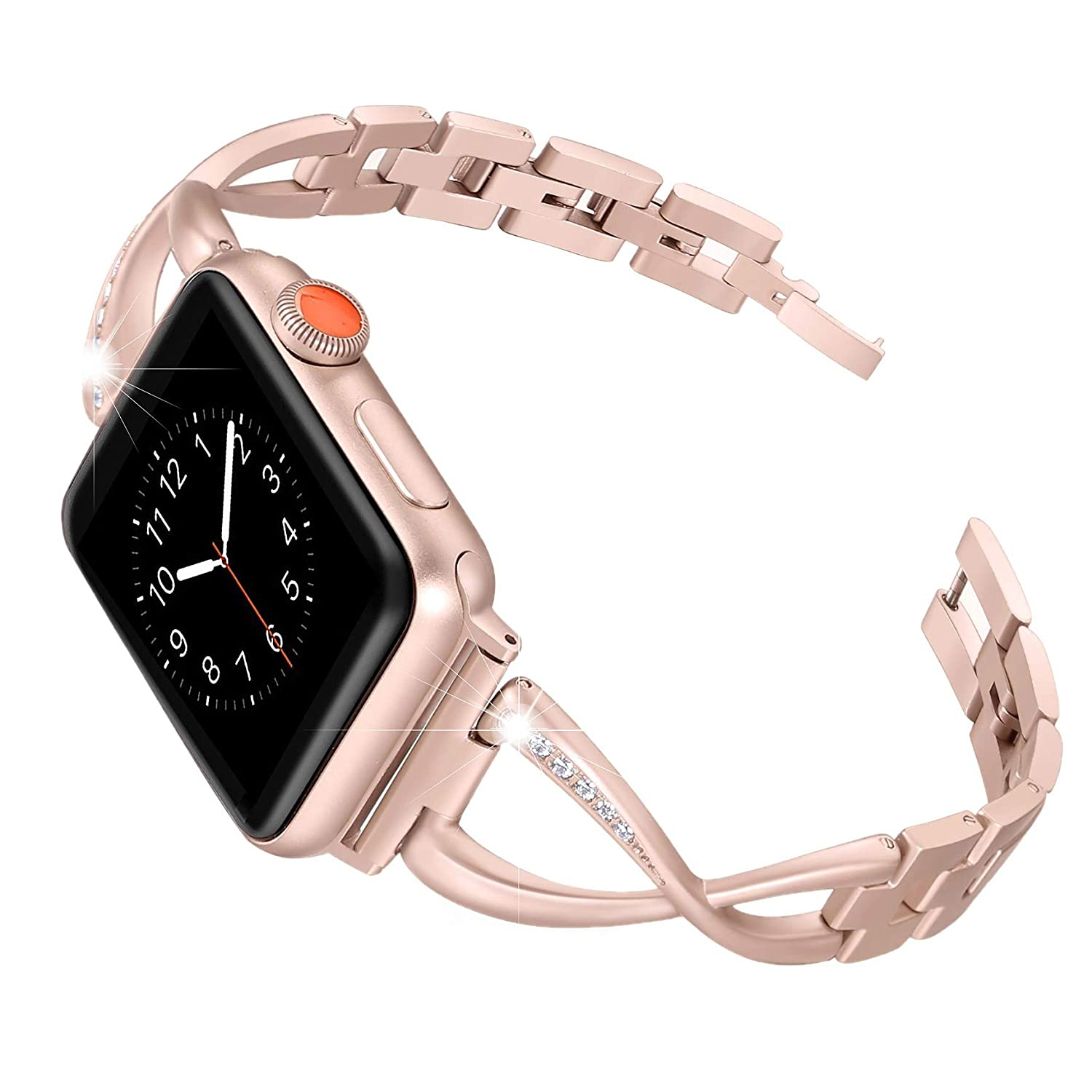 Secbolt Stainless Steel Band Compatible Apple Watch Band 38mm 40mm Women Iwatch Series 5/4/3/2/1 Accessories Metal Wristband X-Link Sport Strap, Series4 Gold