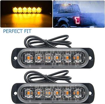 4PCS Amber 6 LED Recovery Flashing Car Emergency Strobe Light bar 12//24V Switch