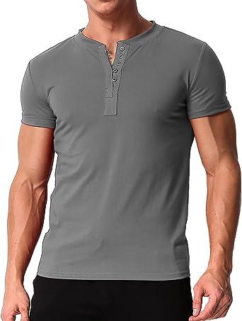 MODCHOK Hombre Camiseta Manga Corta T-Shirt Cuello V Básico Botones Color Sólido: Amazon.es: Ropa y accesorios