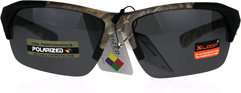 Xloop Mens Camouflage Mirror Lens Horn Rim Sport Sunglasses