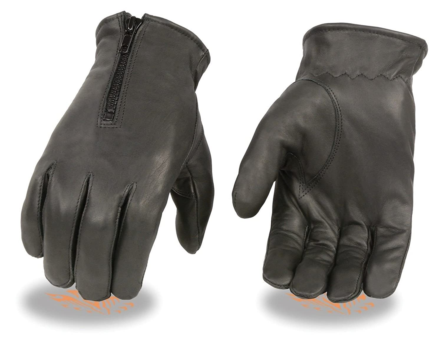 Ladies unlined black Leather gloves by Milwaukee Leather, very soft genuine goat Leather driving gloves, Wrist length with zipper closure, elastic on wrist for comfortable fit (M) Unbranded
