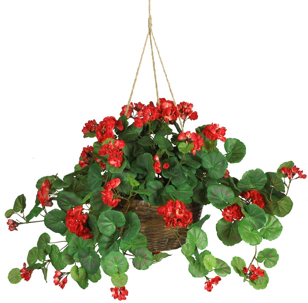 Nearly Natural 6609-Rd Geranium Hanging Basket Decorative Silk Plant Red 2