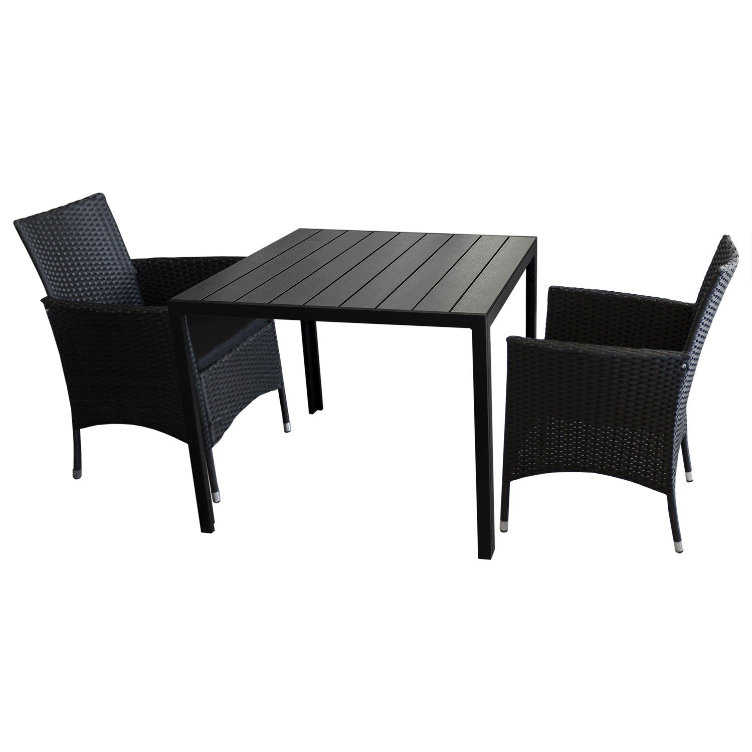 3tlg balkonm bel bistro set gartenm bel sitzgruppe gartentisch polywood tischplatte schwarz. Black Bedroom Furniture Sets. Home Design Ideas