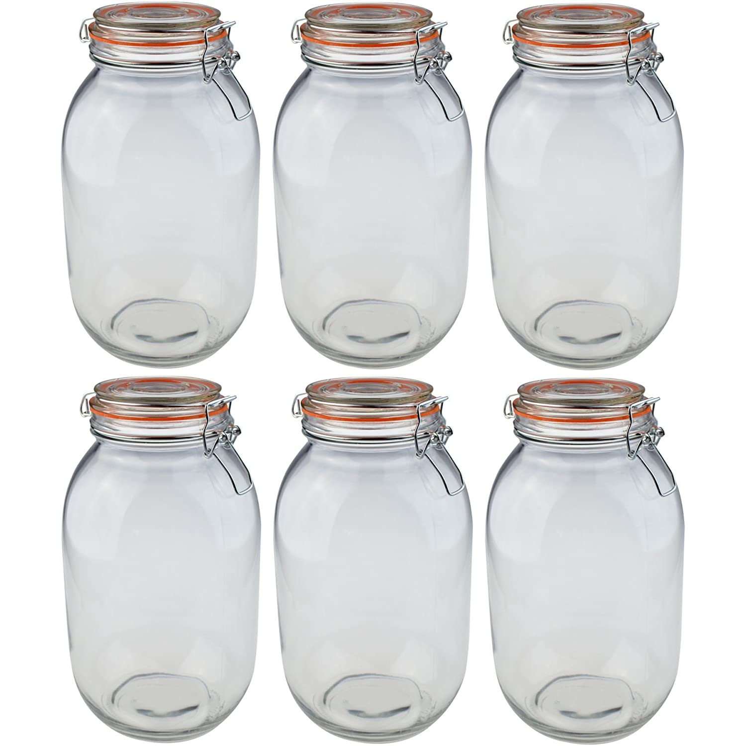Argon Tableware Preserving/Biscuit Glass Storage Jars - 3000ml - Pack of 6
