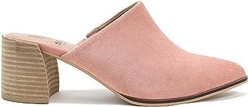 0153e0be3eba Beast Fashion Stephanie-01 Suede Slide On Chunky Mule Heel Sandal