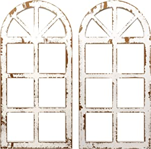2-Pack Distressed Arched Cathedral Window Frame Wall Decor, Antique White