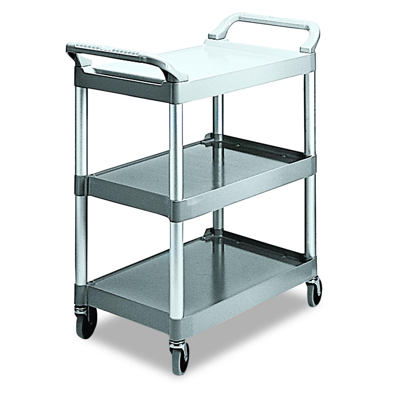 Rubbermaid Commercial Products Economy Plastic Cart, 3-Shelf, 200 Pounds,  18-5/8 x 33-5/8 x 37-3/4, Platinum (342488PM)