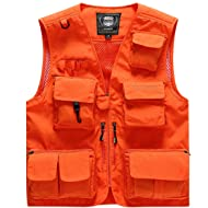 Men's Fishing Vest with 15 Multi Pockets Travel Photography Vest Outdoor Hunting Breathable Jackets