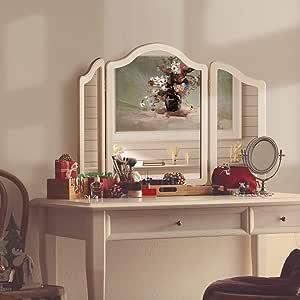 LUXFURNI Hollywood Large Vanity Tri-fold Makeup Mirror, 3 Side Folding Tabletop Mirror white