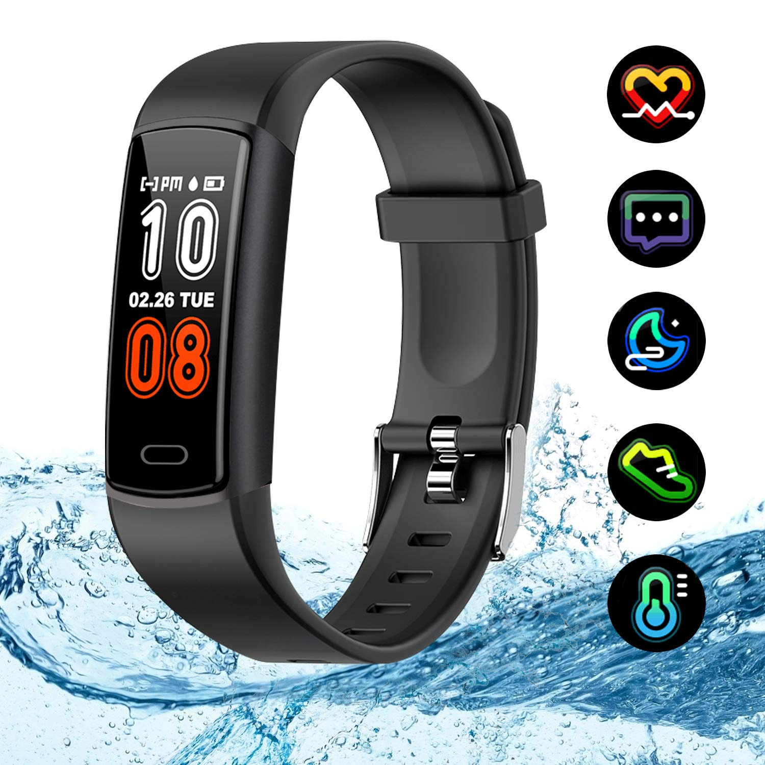 Kirlor Fitness Tracker,Activity Tracker Watch with Heart Rate Blood Pressure Monitor,Waterproof IP68 Colorful Screen Pedometer Calorie Step Counter Sleep Monitor for Android and iPhone