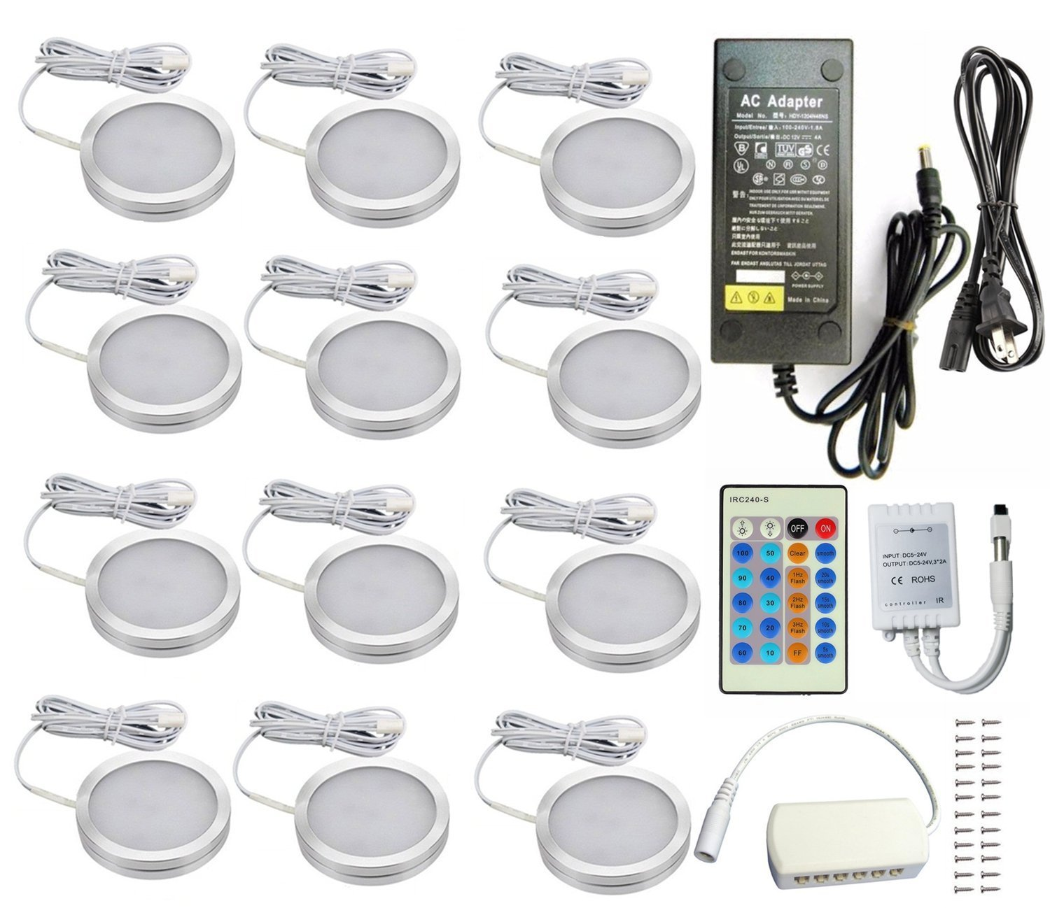 Xking 12 Pcs Dimmable Puck Lights LED Under Cabinet Lighting Kit, DC12V Total 24W - Warm White