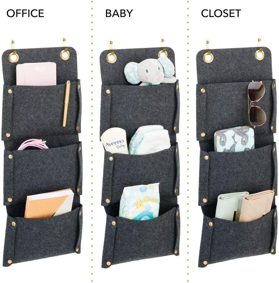 Organizador colgante de fibra sint/ética transpirable para las puertas Organizador de puerta con 3 bolsillos colgantes mDesign Pr/áctica estanter/ía de tela para colgar crudo//dorado