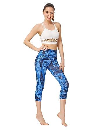 cf2ca00c0a MUMUWU Women Printed Yoga Capri Leggings Workout Running Active Pants Tummy  Control Power Flex Yoga Leggings