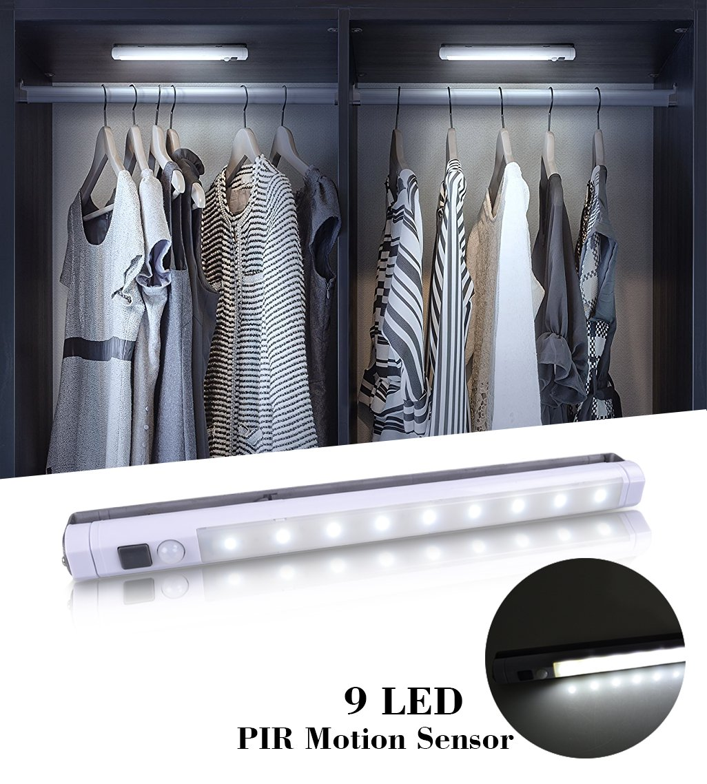 [Upgraded]VIBELITE 9 LED Motion Sensing Closet Lights, 2 Pack DIY Stick-on Anywhere Portable 9-LED Wireless Cabinet Night/Stairs/Step Light Bar with 360° Rotated Sensor (Battery Operated) by VIBELITE (Image #2)