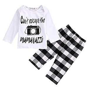 2PCS Toddler Kids Baby Girls Outfit Tops Dress+ Plaids Pants Clothes Set