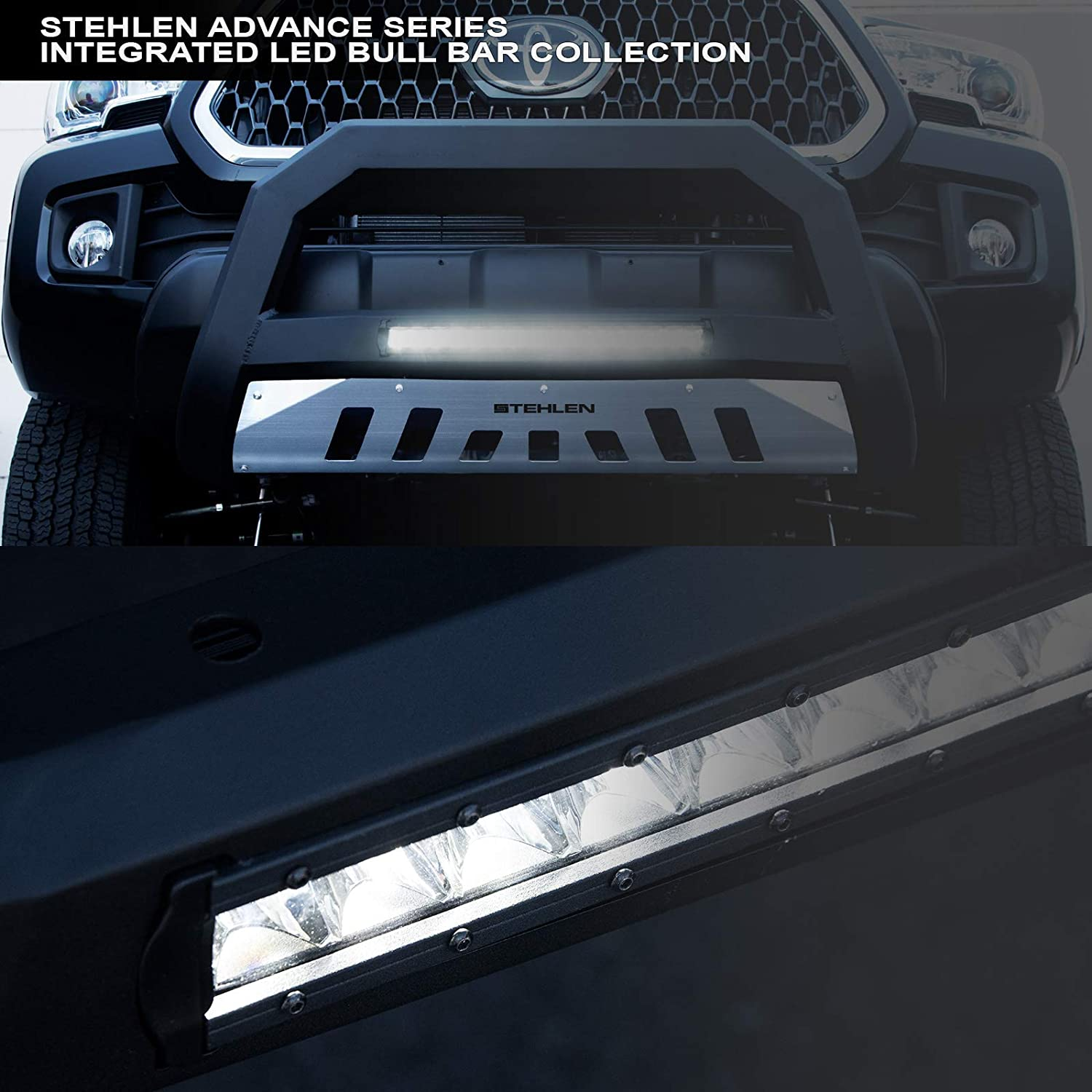 2006-2008 Mark LT 2003-2017 Expedition 2003-2014 Lincoln Navigator Stehlen 714937184565 3 Classic Series Bull Bar Matte Black with 36W CREE LED Light Bars For 2004-2020 Ford F150