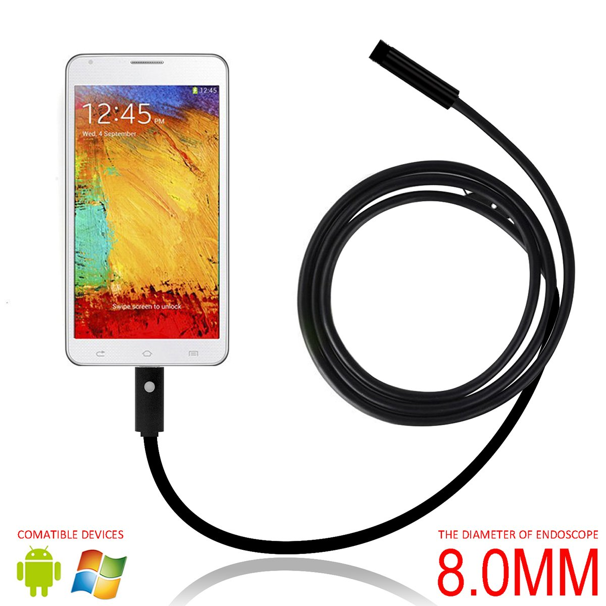 Yoolove USB Android Endoscope 2 IN 1 IP67 Waterproof Snake Inspection Camera Tube Borescop with USB Adapter and 6LED Light for Samsung Computer Laptop PC Smartphones (8.0mm)