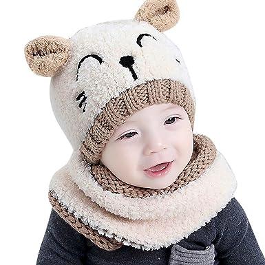 YiQing Chapeaux enfant Bébé Ensemble Bonnet Echarpe Hiver Chaudes Bonnet  tricoté 47a0f4d61ba