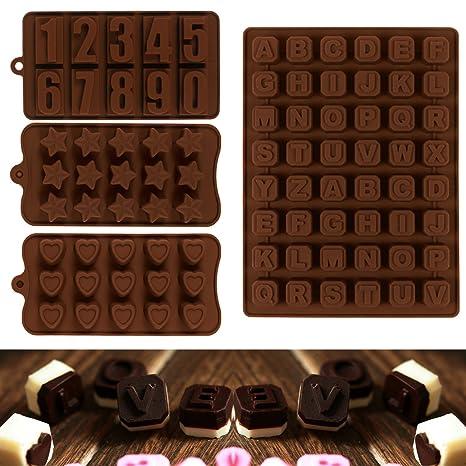 JPSOR 4 Moldes de Chocolate,Moldes de Letras y Numeros Para Chocolate, Moldes de