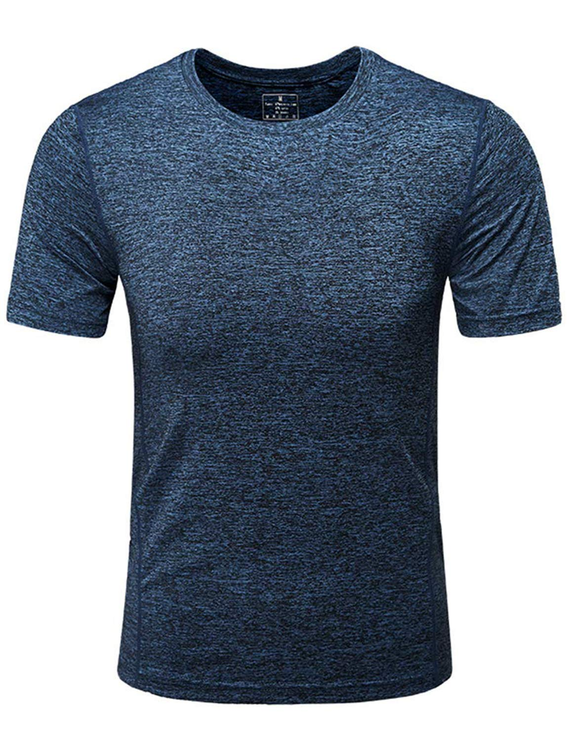 GEEK LIGHTING Men's Short Sleeve Crewneck T-Shirt, Soft Breathable Mesh Tee (Dark Blue, XX-Large)