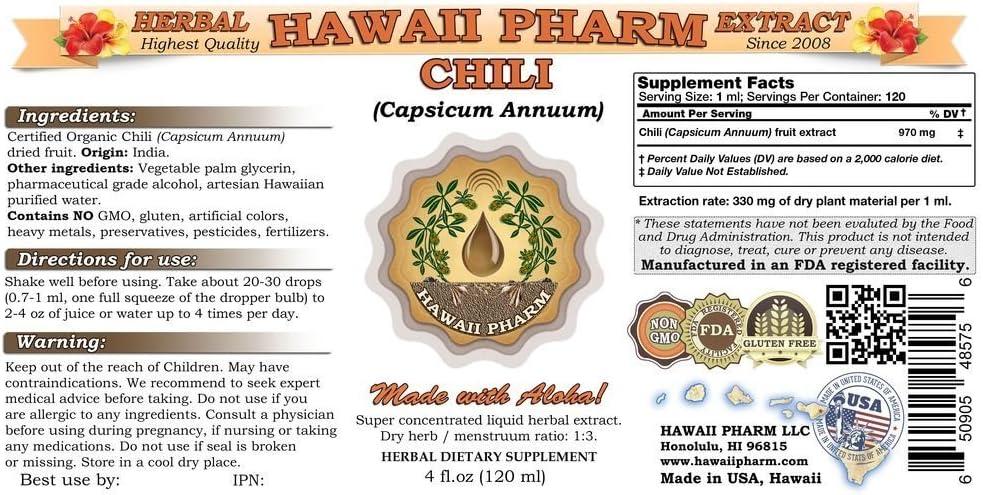 Chili Liquid Extract, Organic Chili Capsicum annuum Tincture Supplement 4 oz