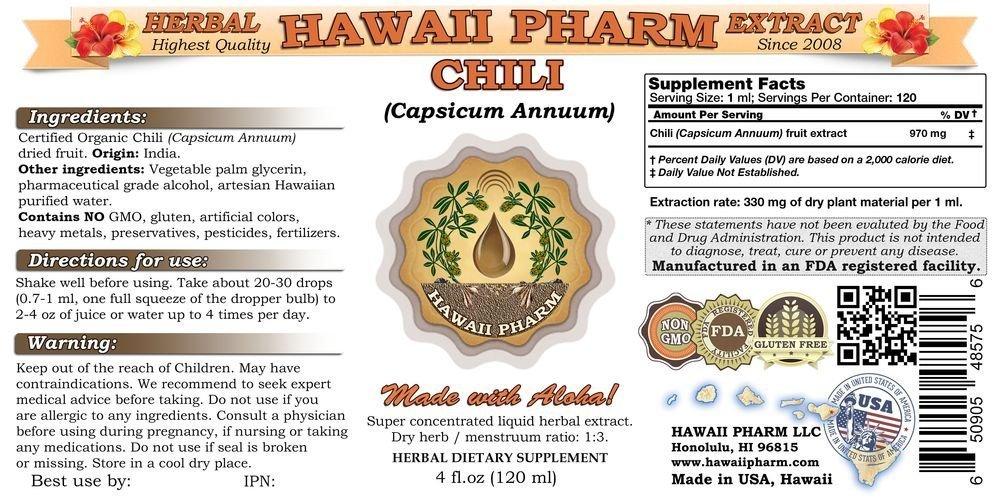 Chili Liquid Extract, Organic Chili Capsicum annuum Tincture Supplement 32 oz Unfiltered