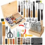 Jupean 424 Pieces Leather Working Tools and Supplies, Leather Craft Kits with Instructions, Leather Sewing Kit, Leather…