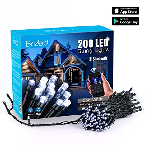 Brizled Led Christmas Lights 200 Led 65ft Dimmable Mini String Lights Bluetooth Led Lights Controlled By Ios Android Devices Ideal For Wedding