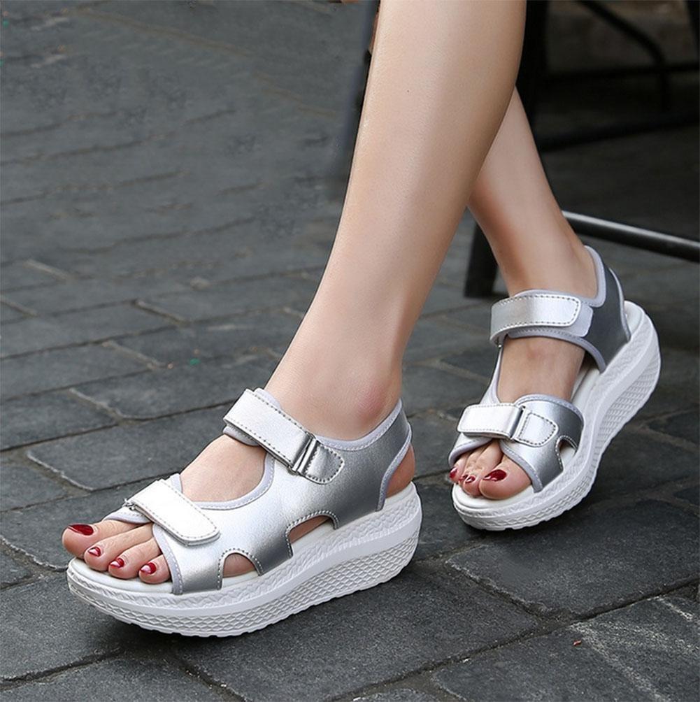 RuiOffene Sandalen Frauen Wort Wort Wort Schnalle Hang mit schweren Boden Schuhe Student Strandschuh Wild  3  US6   EU36   UK4   CN36 bb0dee