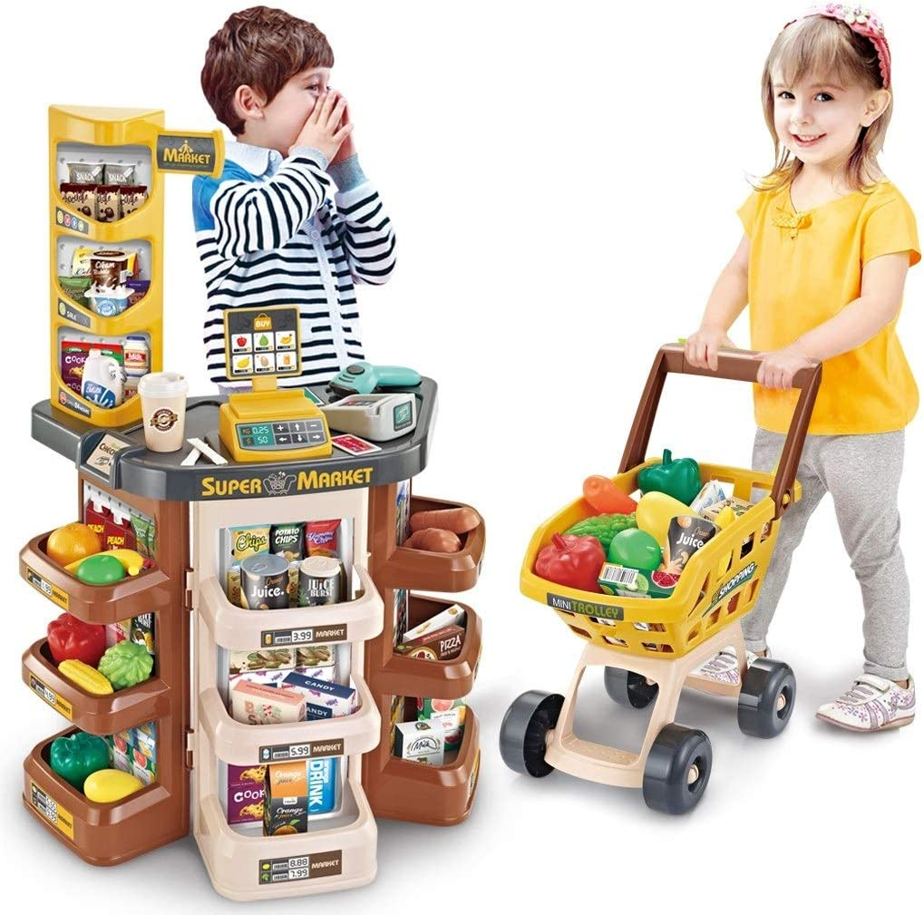 Mostbest Kids Toy Supermarket Store , Shop Trolley Accessories, Food Shopping Grocery with Shopping Cart and Scanner Realistic Pretend Play Child Educational Toy Kid Birthday's Gift (Brown)