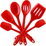 6 Piece Premium Silicone Kitchen Cooking Utensils - Professional Spatulas, Turners, Scrapers, Spoons... Set - Hygienic, Durable, Flexible, Non-Stick, High Heat Resistant | Premium Home Quality (red)