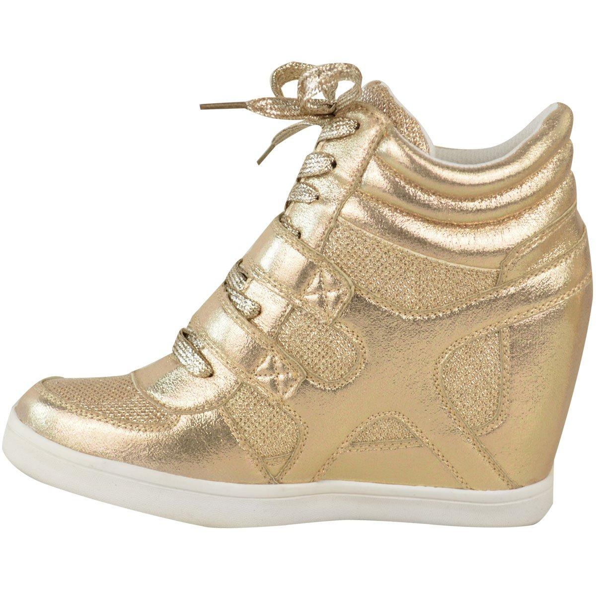 Sneaker Keilabsatz Wedges Klettverschluss Damen Schuhe Sportschuhe Goldfarbe
