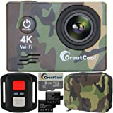 GreatCool Action Cam 4K Wifi Sensor Sony Waterproof Camera Fotocamera Telecamere 25fps Hd Telecomando Wireless 2 Pollici LCD due 1050mAh Batterie e Kit Accessori con Pacchetto Portatile