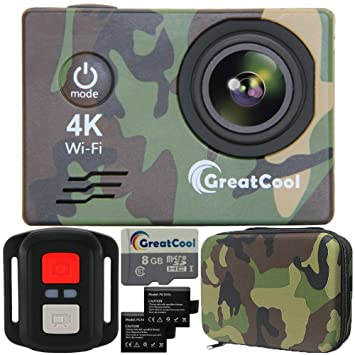 GreatCool Cámara Deportiva 4K Sensor Sony WIFI Impermeable 12MP 2.4 GHz control remoto Inalámbrico Objetivo Gran