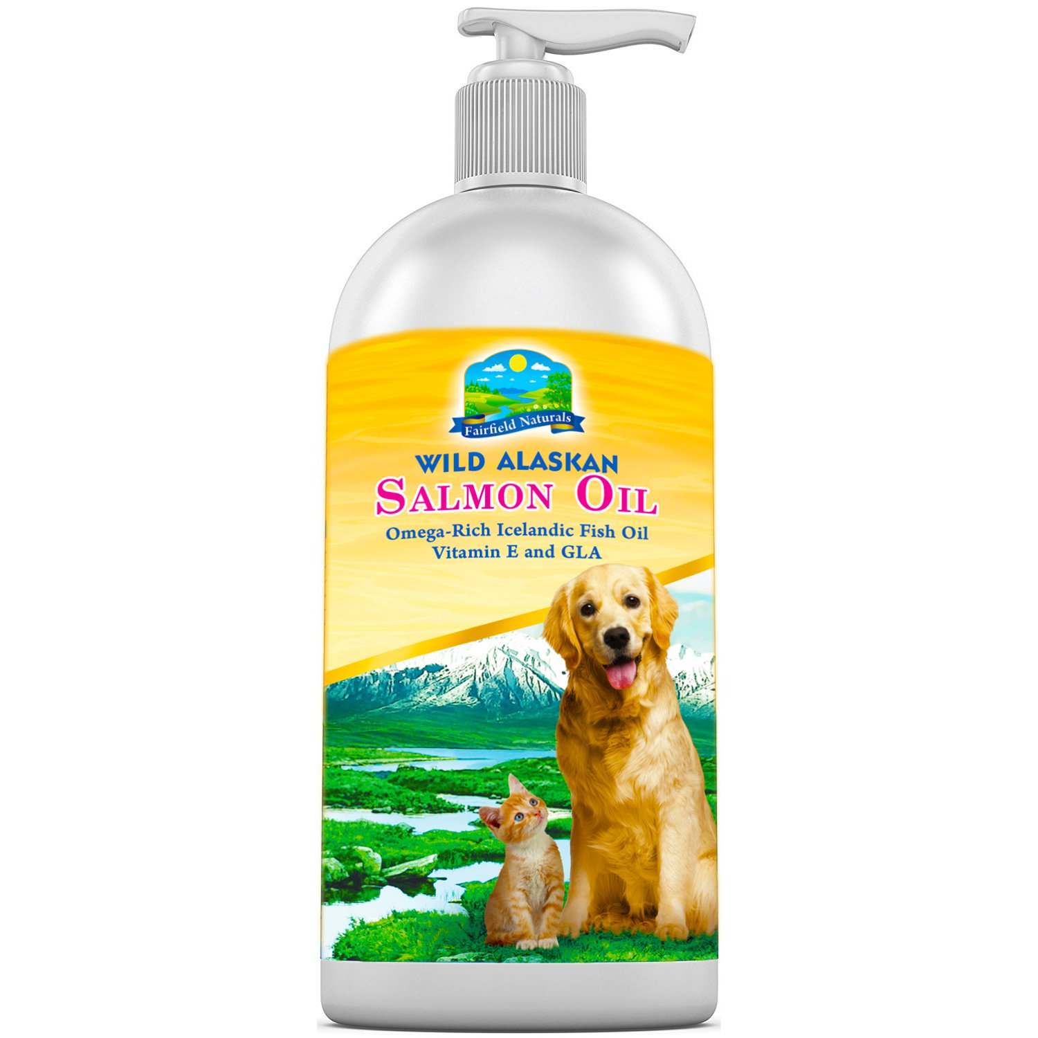 FAIRFIELD NATURALS OMEGA 3 Pet Fish Oil For Dogs & Cats - Organic Wild Alaskan Salmon Fish Oil | Supports Joint Function, Immune & Heart Health - All Natural DHA & EPA Fatty Acids For Skin & Coat 16OZ by Fairfield Naturals
