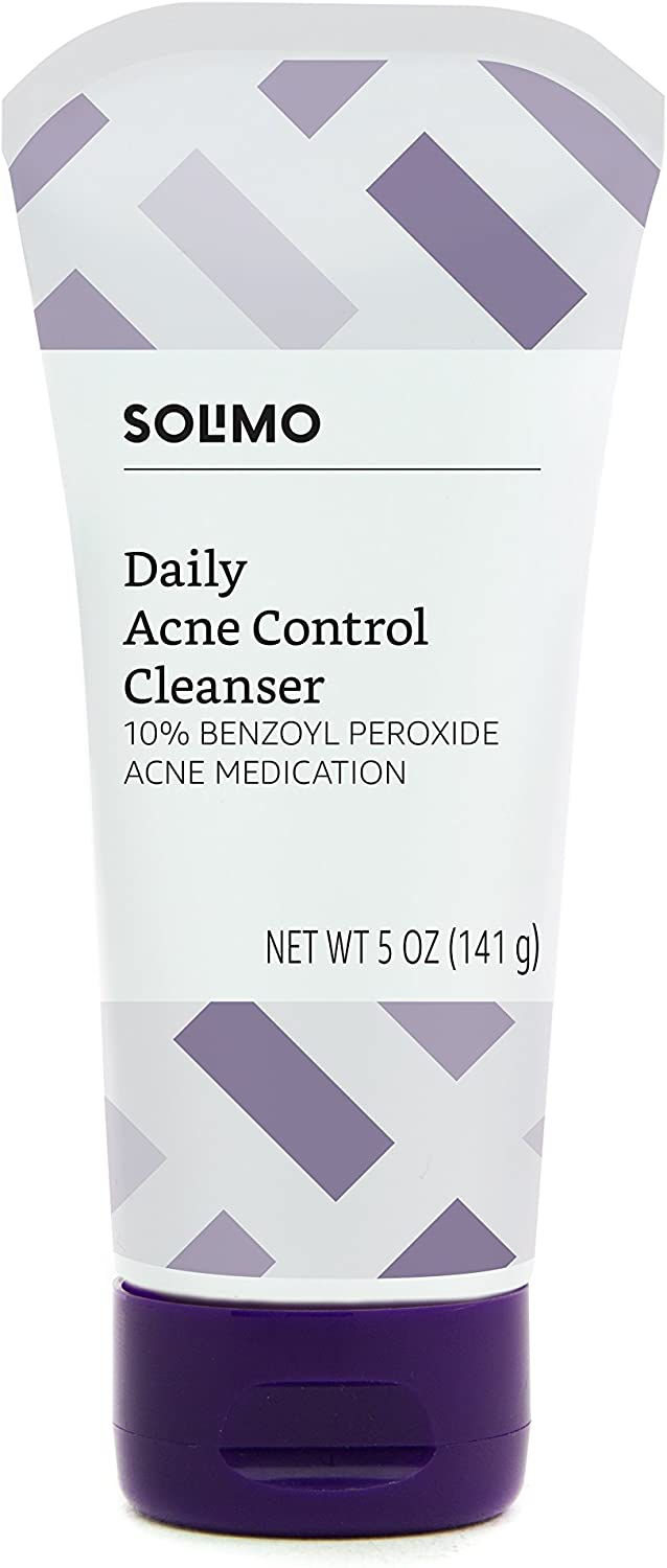 Amazon Brand - Solimo Daily Acne Control Cleanser, Maximum Strength 10% Benzoyl Peroxide Acne Medication, 5 Ounce