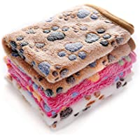 luciphia 1 Pack 3 Blankets Super Soft Fluffy Premium Fleece Pet Blanket Flannel Throw for Dog Puppy Cat Paw Medium
