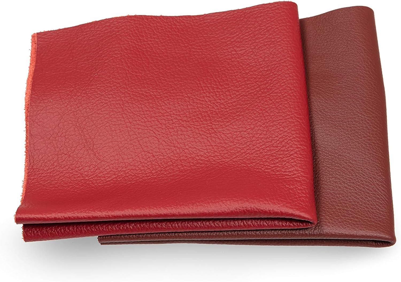 Recortes de cuero - restos de cuero rojo, restos de cuero, tamaños grandes, alta calidad, ideal para bolsos, zapatos, reparaciones, decoraciones, manualidades, 1 kg, tamaño A5