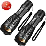 Led Flashlight Gosund T10 2Pack Ultra Bright Adjustable Focus Water Resistant Portable Flashlights of 5 Modes Bottom Click Tactical flashlight for Outdoor