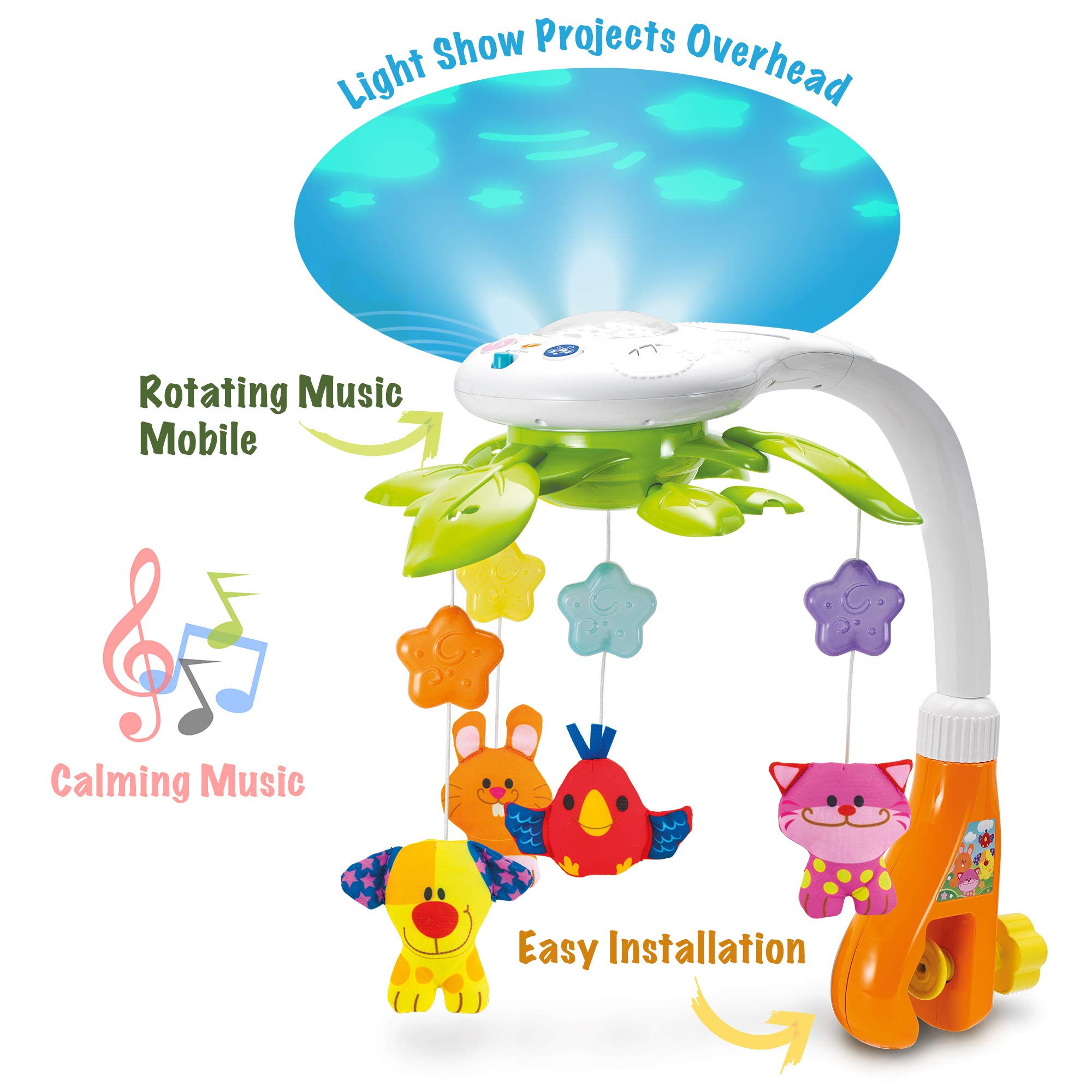 Kiddolab Baby Crib Mobile With Lights And Relaxing Music Includes Ceiling Light Projector With Stars Animals Musical Crib Mobile With Timer